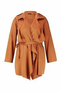 Womens Plus Waterfall Trench Coat - beige - 20, Beige