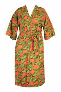 Womens Plus Bright Tropical Belted Kimono - orange - 18, Orange
