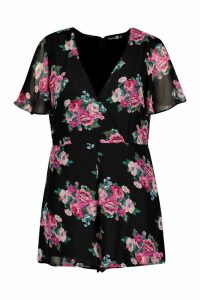 Womens Plus Floral Print Wrap Front Playsuit - black - 20, Black
