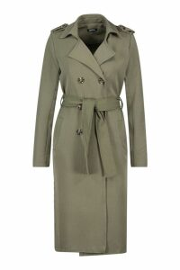 Womens Petite Utility Button Detail Trench Coat - green - 6, Green
