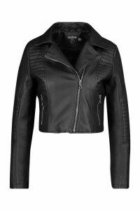 Womens Petite Leather Look Quilted Biker Jacket - black - 14, Black