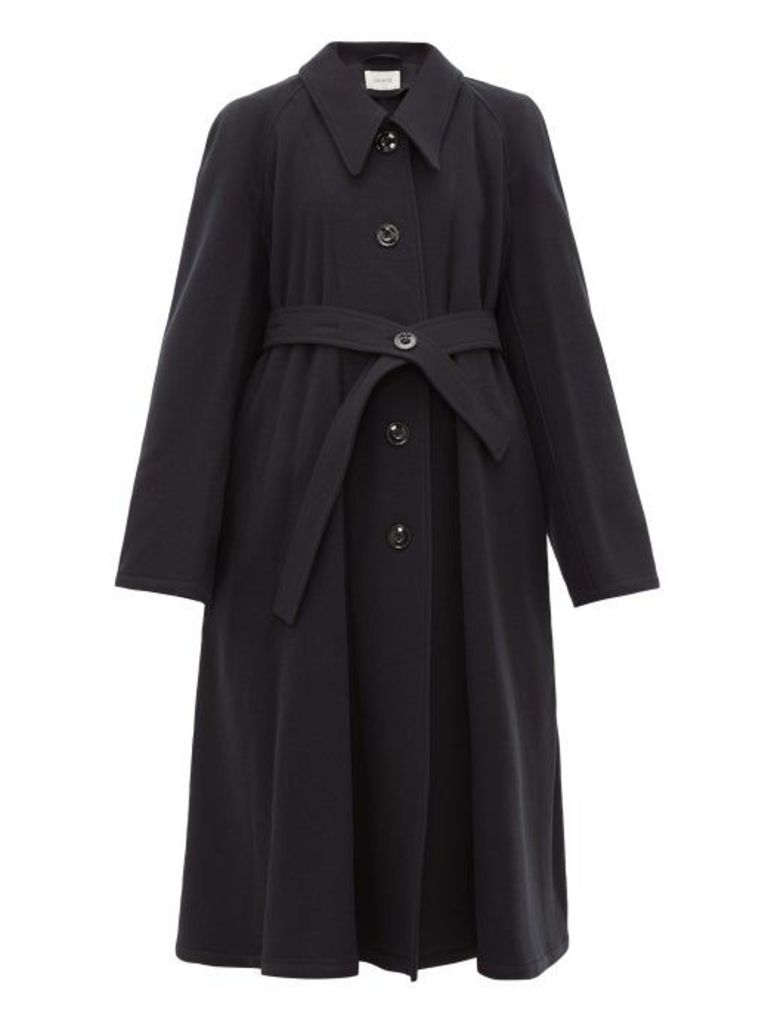 Lemaire - Belted Wool Canvas Coat - Womens - Navy