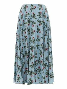 Valentino - Rose And Lip Print Pleated Silk Skirt - Womens - Light Blue