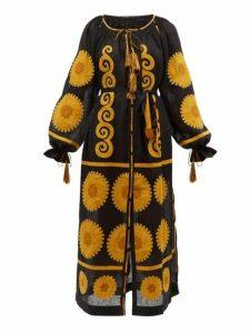 Vita Kin - Siam Floral Appliqué Linen Midi Dress - Womens - Black Yellow