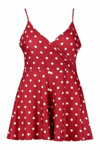 Womens Plus Polka Dot Spot Print Flippy Swing Playsuit - red - 18, Red