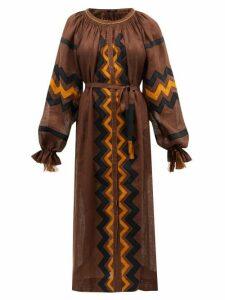 Vita Kin - Zanzibar Embroidered Linen Dress - Womens - Brown Multi