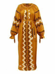 Vita Kin - Zanzibar Embroidered Linen Dress - Womens - Yellow Multi