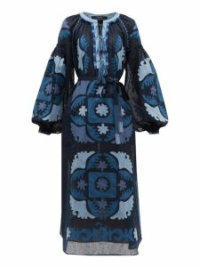 Vita Kin - Scarab Balloon Sleeve Embroidered Linen Dress - Womens - Navy Multi