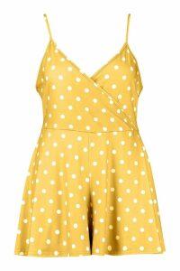 Womens Plus Polka Dot Spot Print Flippy Swing Playsuit - yellow - 22, Yellow