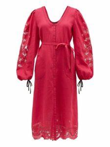 Vita Kin - Broderie Anglaise Linen Midi Dress - Womens - Pink