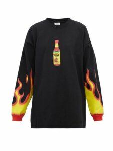 Vetements - Hot Sauce Print Cotton Jersey Sweatshirt - Womens - Black Multi