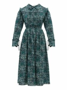 Horror Vacui - Marie Louis Floral Print Smocked Cotton Dress - Womens - Green Multi