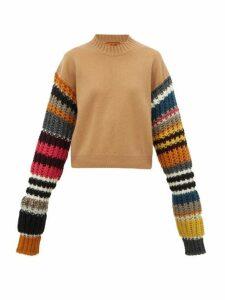 Colville - Striped Sleeve Wool Blend Sweater - Womens - Brown Multi