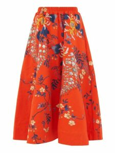 By Walid - Daisy Floral Print Cotton Canvas Midi Skirt - Womens - Red Multi
