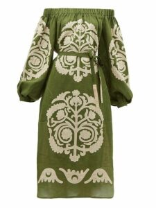 Vita Kin - Palladium Off The Shoulder Embroidered Linen Dress - Womens - Khaki Multi