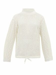 See By Chloé - Roll Neck Lace Knit Top - Womens - White