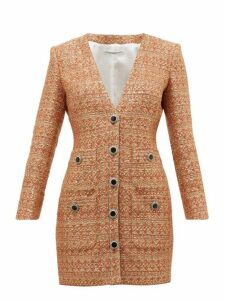Alessandra Rich - V Neck Sequin Tweed Mini Dress - Womens - Orange Multi