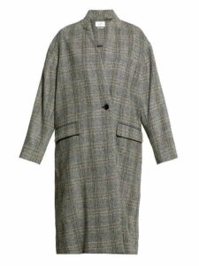 Isabel Marant Étoile - Henlo Checked Wool Overcoat - Womens - Grey