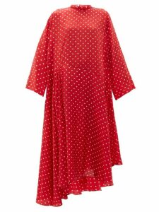 Balenciaga - Typo Polka Dot Print Silk Jacquard Midi Dress - Womens - Red Multi