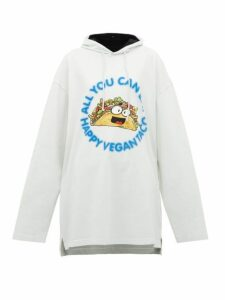 Vetements - Taco Print Longline Cotton Hooded Sweatshirt - Womens - Ivory