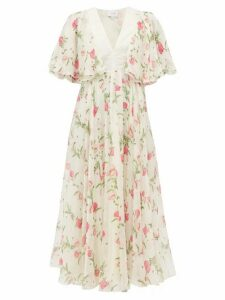 Giambattista Valli - Poppy Print Silk Georgette Midi Dress - Womens - Ivory Multi