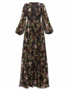 Giambattista Valli - Lace Panelled Floral Print Silk Georgette Dress - Womens - Black Multi