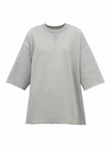 Mm6 Maison Margiela - Blazer Trim Cotton Mini Sweatshirt Dress - Womens - Navy Multi