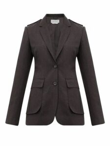 Gabriela Hearst - Wesley Raw Edged Wool Blazer - Womens - Dark Grey