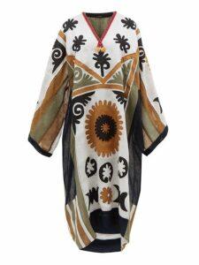 Vita Kin - Marlborough Floral Appliqué Linen Dress - Womens - White Multi
