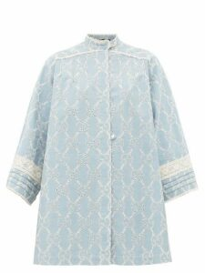 Gucci - Gg Broderie Anglaise Cotton Mini Dress - Womens - Blue White