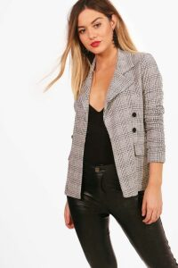 Womens Petite Check Button Sleeve Blazer - grey - 4, Grey