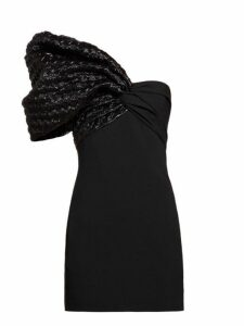 Saint Laurent - Heart Quilted One Sleeve Crepe Mini Dress - Womens - Black