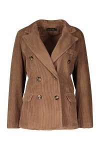 Womens Cord Double Breasted Blazer Coat - brown - XXL, Brown