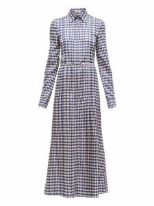 Gabriela Hearst - Jane Rhombus Print Silk Twill Shirtdress - Womens - Navy White