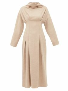 Roksanda - Marea Cowl Neck Wool Jersey Midi Dress - Womens - Beige