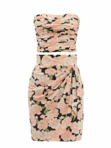 William Vintage - Loris Azzaro Floral Print Silk Skirt And Top Set - Womens - Pink Print