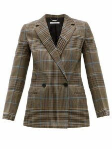 Givenchy - Checked Double Breasted Wool Blend Blazer - Womens - Grey Multi