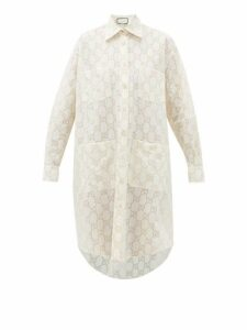 Gucci - Gg Broderie Anglaise Cotton Blend Shirtdress - Womens - White Gold