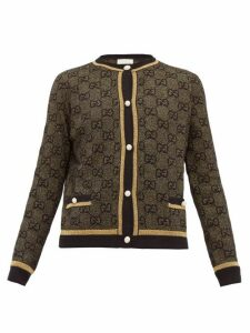 Gucci - Lamé Gg Jacquard Wool Blend Cardigan - Womens - Black Gold
