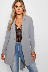 Womens Plus Oversized Tie Blazer - grey - 24, Grey
