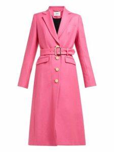 Erdem - Edmund Single Breasted Wool Twill Coat - Womens - Pink