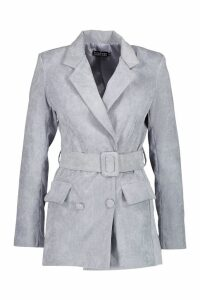 Womens Cord Covered Belt Blazer - grey - 14, Grey