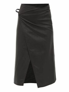 Vetements - Logo Embossed Leather Midi Wrap Skirt - Womens - Black