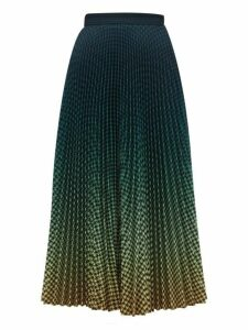 Mary Katrantzou - Dégradé Houndstooth Print Pleated Crepe Skirt - Womens - Dark Green
