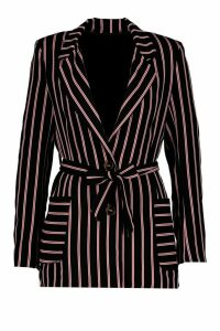 Womens Woven Stripe Tie Belt Pocket Blazer - black - 14, Black