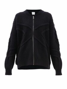 Barrie - Cross Jacquard Cashmere Zip Through Sweater - Womens - Dark Navy