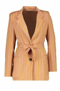 Womens Woven Stripe Tie Belt Pocket Blazer - beige - 12, Beige