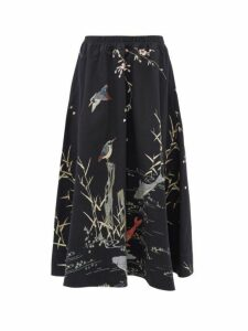 By Walid - Daisy Koi Print Cotton Canvas Midi Skirt - Womens - Black Multi