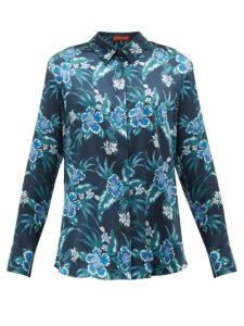 Altuzarra - Chika Hibiscus Print Silk Blend Charmeuse Blouse - Womens - Blue Print