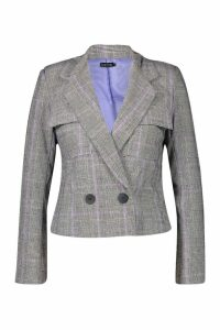Womens Cheek Pocket Detail Blazer - purple - 14, Purple